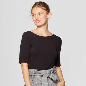Black Elbow Sleeve Ballet Back T-Shirt Top
